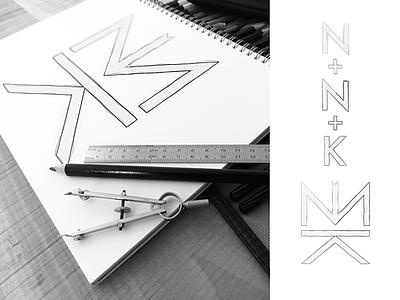 NNK logo 2d art mockup nk yatfff monogram logosai brand design sketch scketch illustraion app 3d 2d icon mark branding design logos brand logo