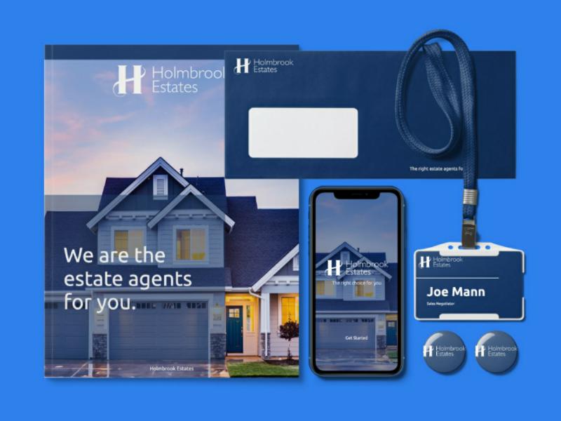 Holmbrook estate agents mockup mockup design logo branding