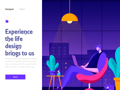 Work at home night illustration ui life experience design home work