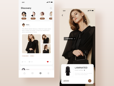 Discovery page buy ux app ui intelligent recognition shopping model brand picture details fashion app clothes clothing fashion