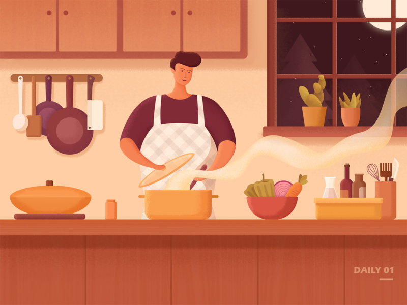 Cook by myself illustration outside the window the life of one person warm potted plant daily life boy man vegetables delicious kitchen alone cook