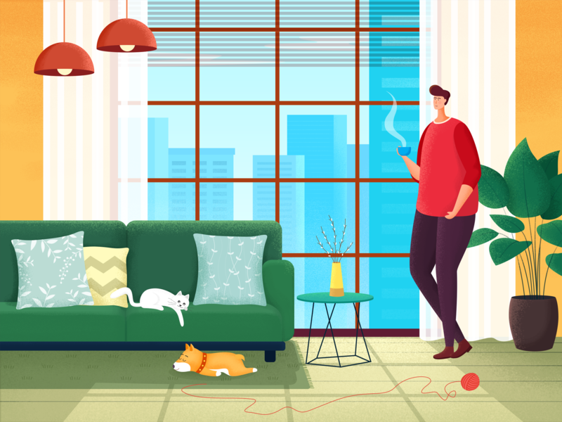 Free afternoon time on weekends illustration comfortable omfortable laid back plant living room sofa sunlight dog cat coffee a person boy home weekend leisure afternoon