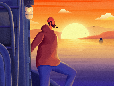 Man at sea illustration distance miss lonely warm boat ferry pipe sailor sea sunrise sunset man