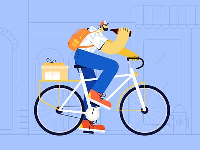 ride a bike illustration play boy street cycle ride bike