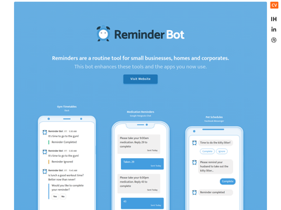 Reminder Bot - Chris Vincent weddesign logo ux reminder homepage branding web design app webdesign website