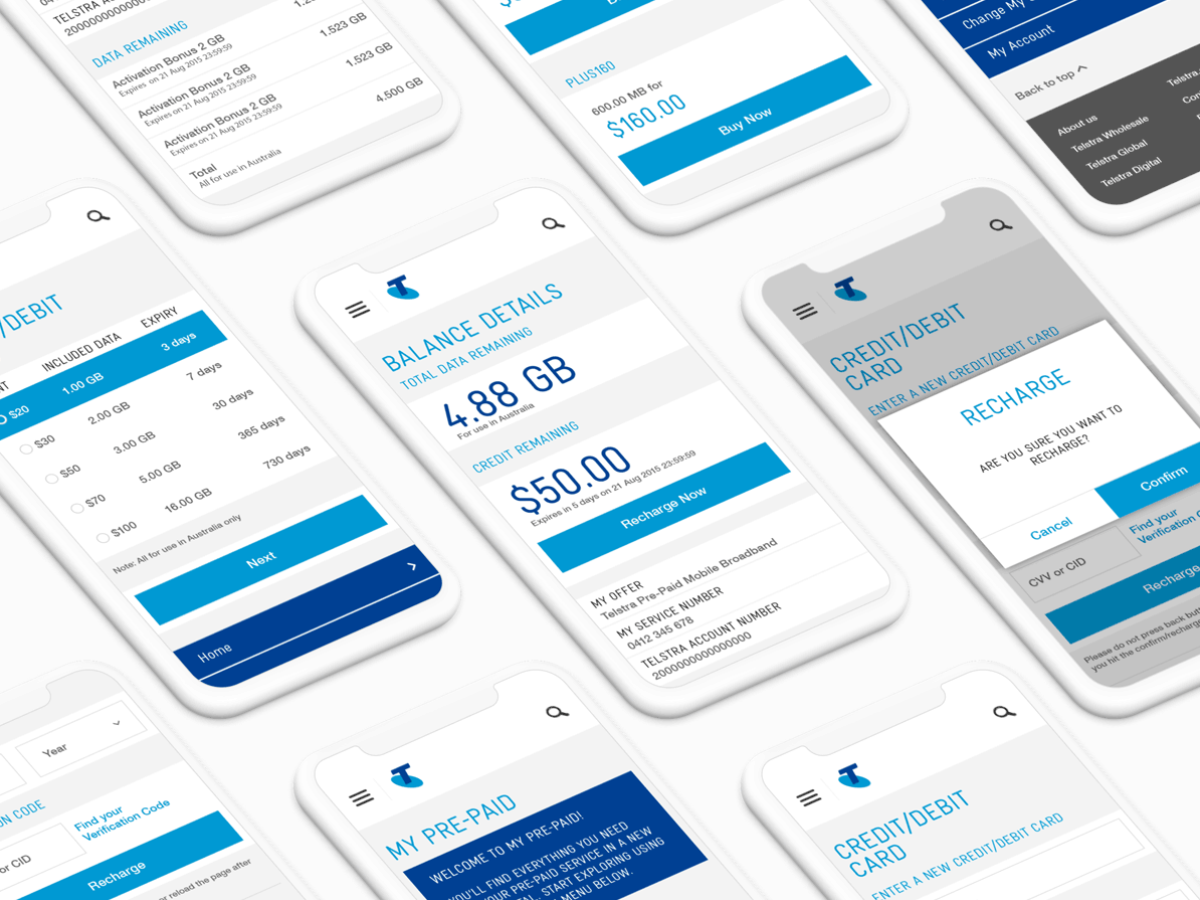 Telstra Mobile Recharge Portal by Sam Williams on Dribbble