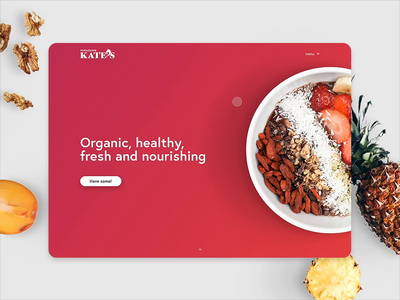 Healthy food website concept desktop ui design interaction transition nutrition slider web fruit bowl healthy food animation