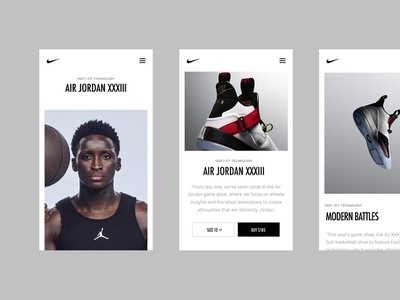Nike AirJordan XXXIII mobile design digital interface ux ui