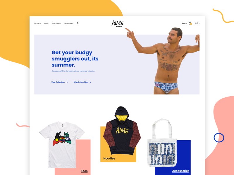 AIME Apparel funny website clothing shop minimal colourful wobbly