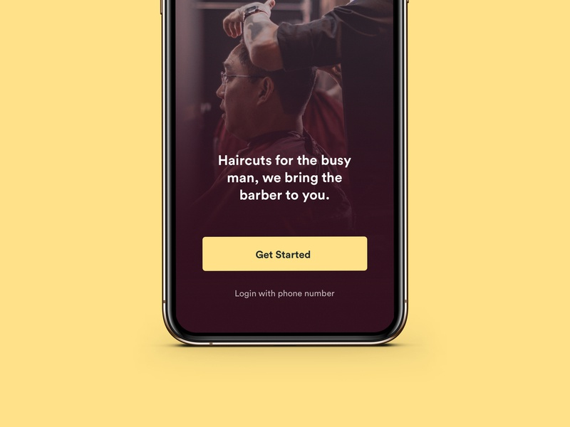 Movecuts mobile menu shave man masculine barber search phone design simple minimal internal project concept dark haircut ui iphone app