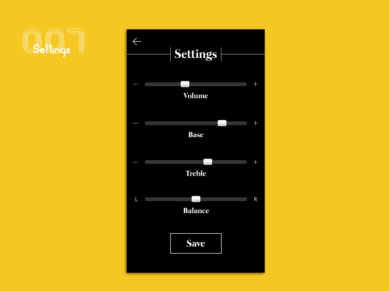 Settings- UI Challenge 007 daily ui ui challenge music settings