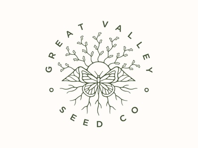Great Valley Seed Co seed sun mountains butterfly nature typography vector australia icon illustrator branding badge logo