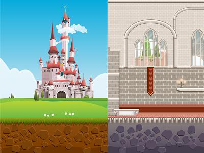 Game Design  vector illustration game design castle brick