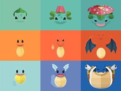 Final Poster of Starter Pack poster pokemon illustration vector flat minimal starters