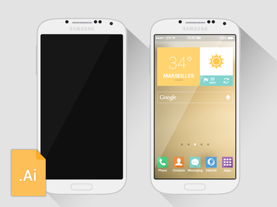 [Vector] Galaxy S4 Freebie vector minimal flat galaxy s4 freebie illustrator mobile mockup free