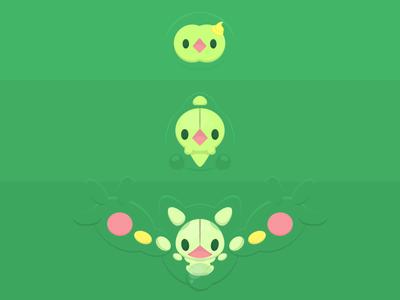 Duosion / Méios Evolution vector illustration pokemon pkmn green poster