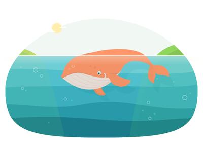Orange Sunny Whale  swimming flat sun fish blue underwater landscape water whale orange