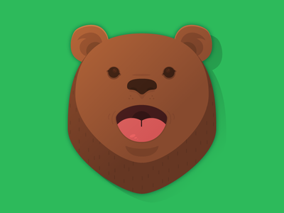 Bear | Icon - Character design trend style ios icon green design music mouth singing bear app animal