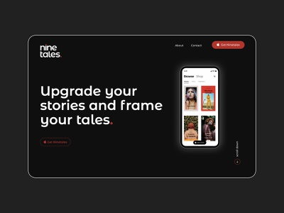 Ninetales App Website homepage typography design ui concept web art minimalistic