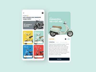 Vespa Store App Exploration vespa mobile app ui ux exploration shopping app dailyuichallenge store product page productdesign