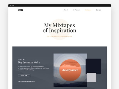 My Mixtapes of Inspiration web design minimal clean website page design music mixtapes