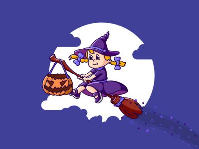 Halloween. Again. boo girl sticker illustration mascot helloween