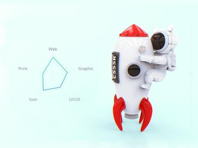 Junior designer rocket candy astronaut cosmo skills design illustration render 3d