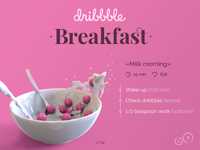 Dribbble breakfast ball recipe milk dribbble ball ui design packshot render 3d