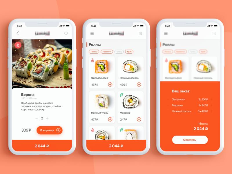 Sushi menu & delivery orange minimal menu food ui ux design app delivery shop sushi