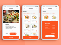 Sushi menu & delivery orange minimal menu food ui ux design app delivery shop sushi