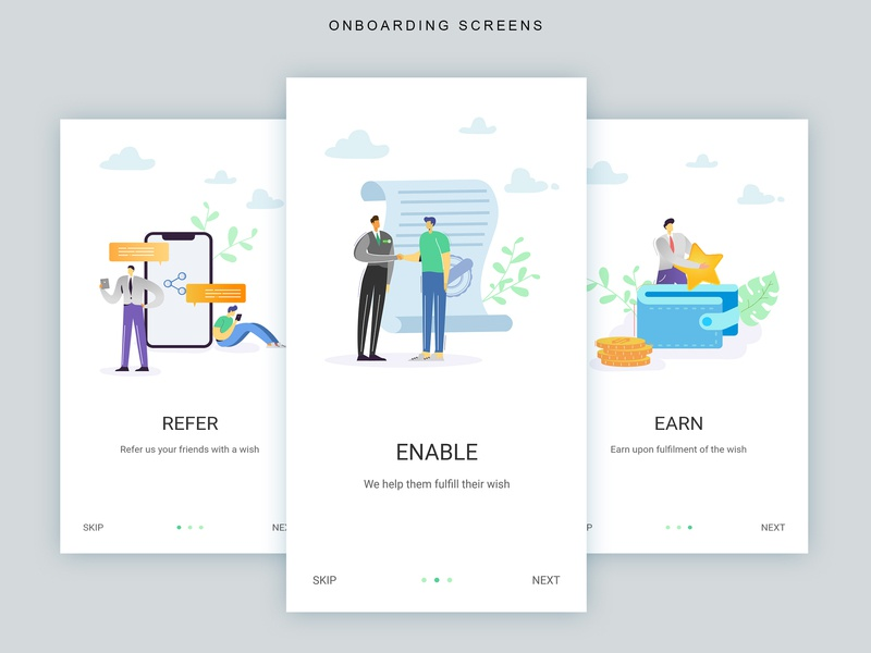 Personal loan Referral Onboarding vector ui banking app app design screens onboarding illustration design