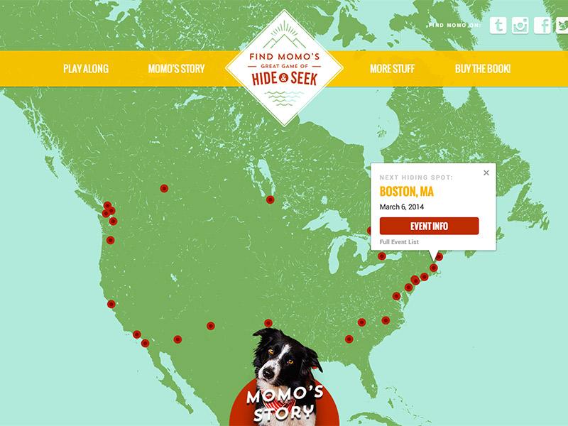 Find Momo Book Tour Website book tour site layout design map google nav dog