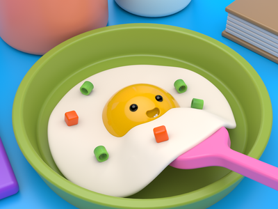 Morning meal 3dmodel cooking morning meal cinema4d arnold render mascot c4d cute colors food egg illustration character 3d