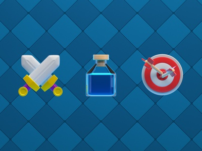 Mobile game icons clash nintendo rpg supercell jar arrow sword ui cute render cinema4d c4d 3dmodel web 3d illustration icon