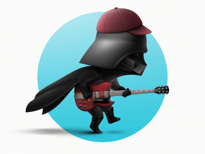 Hi all! Let's Rock! invite web 2d app attachment design movie debut darth vader illustration icon character