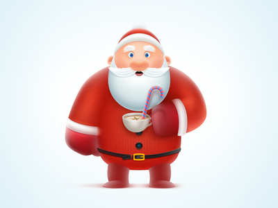Santa coffee cup mascot icon sketch santa 3d 2d illustration character