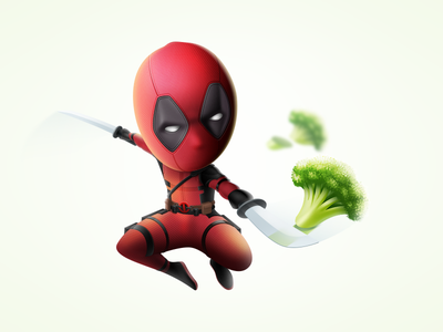 Deadpool illustration dc 3d 2d sketch broccoli character ios icon