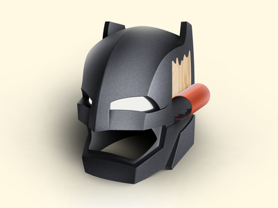 Batman armor helmet design dc web 2d 3d wood batman ios illustration icon