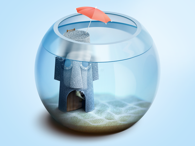 Squidward's house illustration umbrella rock squidward bubbles glass underwater 3d icon ios aquarium