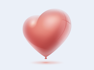 Heart balloon air red 3d ios 2d illustration heart balloon web icon