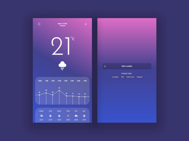 Best Android Ui Design Tool: Weather App Ui Design by Asif Rahman on Dribbblerh:dribbble.com,Design