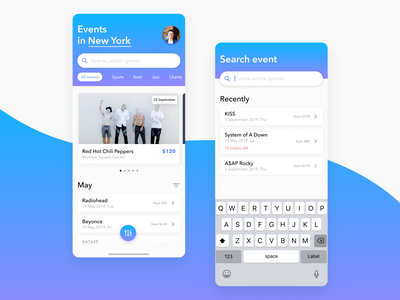 Weekly UI #2 — Event List tickets search recent music lists list iphone x ios event listing event dailyui035 dailyui app