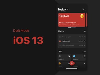Weekly UI #60 — Reminder / Alarm iOS 13 Dark Mode