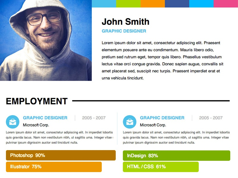 adobe muse personal resume template by musefree dribbble