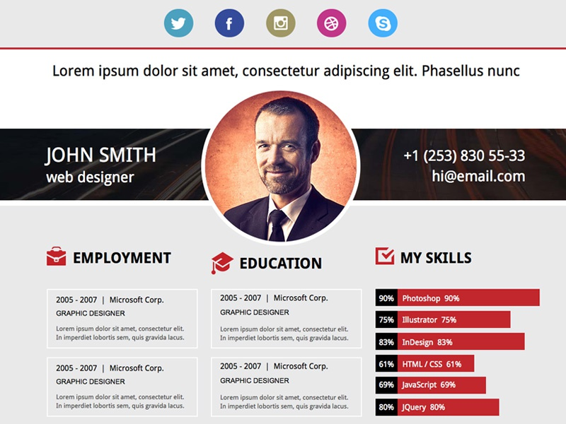 free download adobe muse resume template by xdlayouts