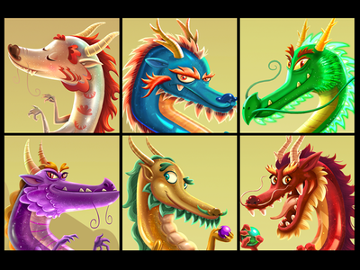 Dragons Wealth Character face paintings art photoshop drawing paint illustration character casino wealth dragons