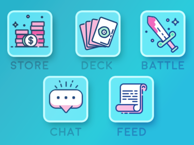 Card Battler Icons cartoons illustrations icon icons game mobile battler card