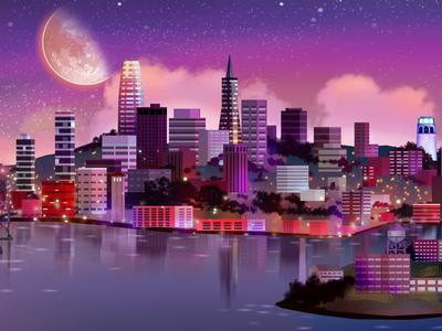 San Francisco Paint map city scape skyline landscape parallax background art digital painting san francisco