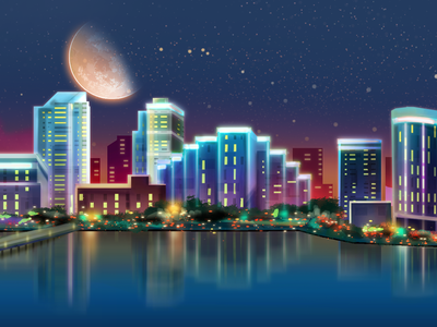 Miami Background Paint. map city scape skyline landscape parallax background art digital painting miami
