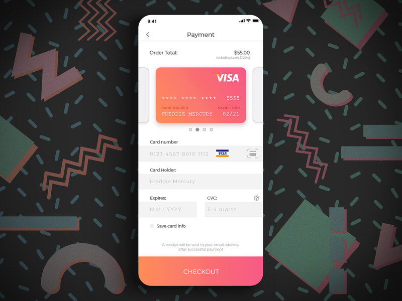 Daily UI 002 - Credit Checkout pattern retro zoops mitchell vizensky visual design ux ui checkout credit card